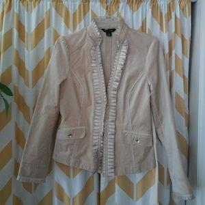 WHBM Size 6 Tan Cotton velvet ruffle jacket